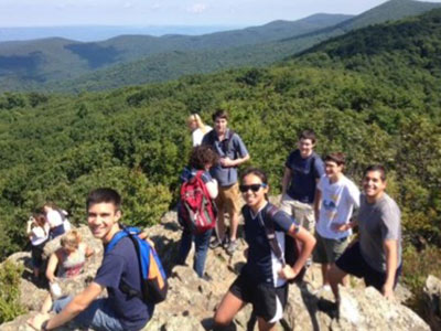 UVA's Cell and Molecular Biology Grad students on a hike, overlooking the Shenandoah Valley in Virginia.