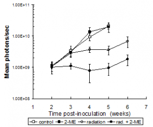 Effect of combined radiation and 2-ME treatment on tumor growth. Nude mice with subcutaneous PC3 tumors (hind leg) were treated +/- 2 Gy for 5 consecutive days; 2-ME (75 mg/kg, closed symbols) was administered orally 4 h prior to each radiation dose. Tumors were measured by luciferase light emission in terms of photon flux. Error bars represent ±SEM for 5 mice per treatment group