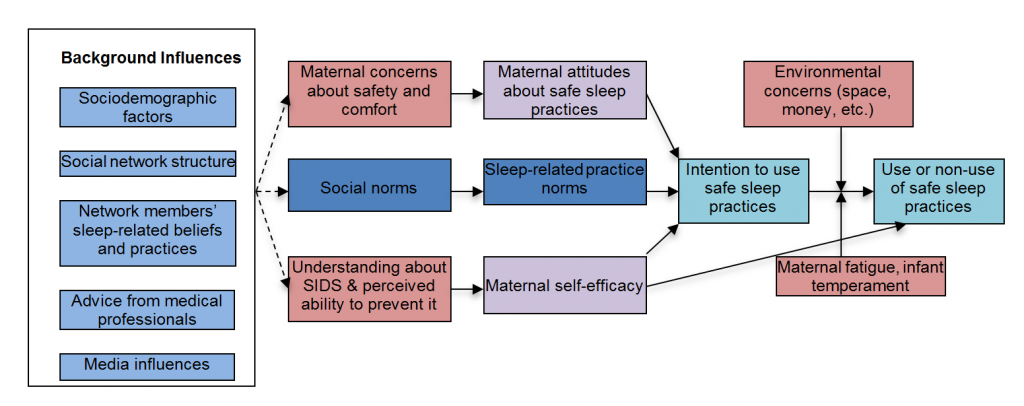 Figure displaying potential influences on parental decision-making with regards to infant sleep practices